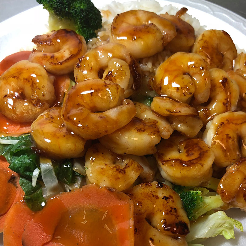 Teriyaki Shrimp with white rice and vegetables.